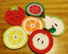 Posa Vaso Crochet Modelo Frutas - $ 80,00