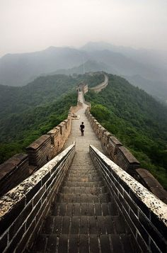 Great Wall of China. I remember how the steps were worn down.