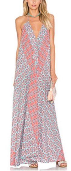 Coral and Sky Blue Plunge-Neck Maxi