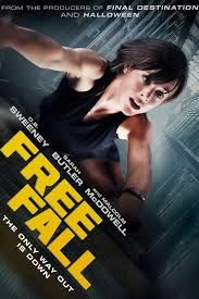 Free Fall (2014)  When the sudden and shocking death of a coworker sends everyone reeling at Gault Capital, JANE, uncovers a very dangerous secret. Her boss, charismatic billionaire Thaddeus Gault, is suspected of massive financial fraud. An assassin, FRANK, is dispatched to silence her forever. Jane's flight from the office is forestalled when her pursuer shuts down her elevator. Now, trapped and alone, Jane must find a way to escape her steel cage before the killer reaches her.