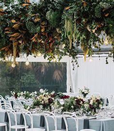 Modern Botanical Greenery and Edison Bulb Chandelier for a Marquee Reception Botanical Gardens Wedding, Garden Wedding, Wedding Day, Wedding Dress, Dream Wedding, Edison Bulb Chandelier, Floral Chandelier, Floral Wedding, Wedding Flowers