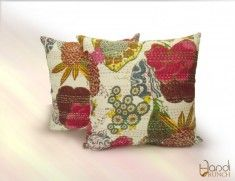 Buy online #Printed #Kantha #Pillow cover