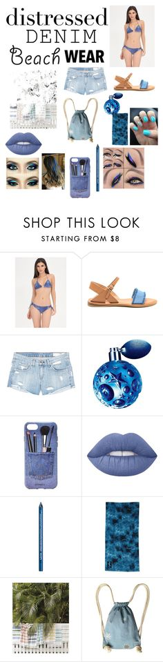 """""""Beach Wear denim"""" by cutekj103 ❤ liked on Polyvore featuring rag & bone/JEAN, Thierry Mugler, Iphoria, Lime Crime, NYX, Billabong and Supersweet"""
