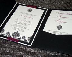 Diamond Damask Wedding Invitation Pocketfold - Sample