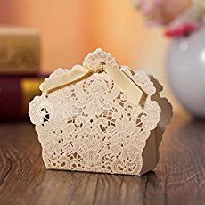 Rzctukltd 100PCS Champagne Gold Romantic Rose Wedding Favour Favor Sweet Cake Gift Candy Boxes Table Deco