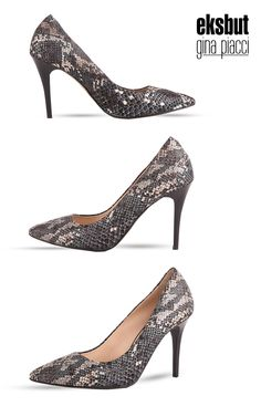 Oryginalne czółenka ze skóry licowej imitującej skórę z węża.  #pumpshoes #czółenka #buty #obuwie #eksbut #boots #shoes #style #highheels #szpilki #women #kobieta