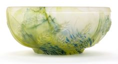 Art Glass:Daum, DAUM GLASS BOWL . Green mottled pressed glass in a wheat motif,circa 1900 . Marks: DAUM, NANCY. 7-3/4 inches diameter (19.7...