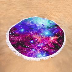 "Fox Fur Nebula Magenta Round Beach Towel by Johari Smith.  The beach towel is 60"" in diameter and made from 100% polyester fabric."