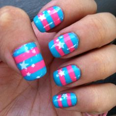 pink & blue stripes with stars.