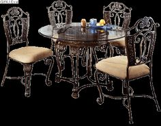 D396 15 Ashley Furniture Opulence Ii Glass Top Table   My Dinning Room  Table U0026