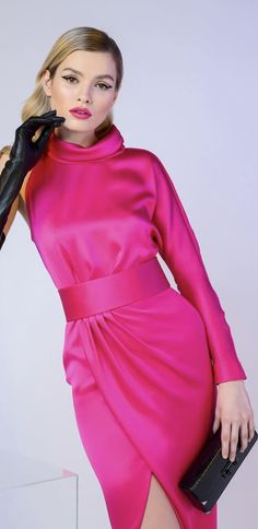 Cut from a silk-blend satin, single-sleeved high-slit dress has a cinched waistline with a wide belt that… Fashion Colours, Pink Fashion, Runway Fashion, Retro Fashion, Women's Fashion, High Slit Dress, The Dress, Pink Peacock, Wedding Guest Looks