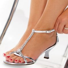 1e8afc73e Silver Patent Leather T Strap Sandals Low Heels Rhinestone Sandals for  Party