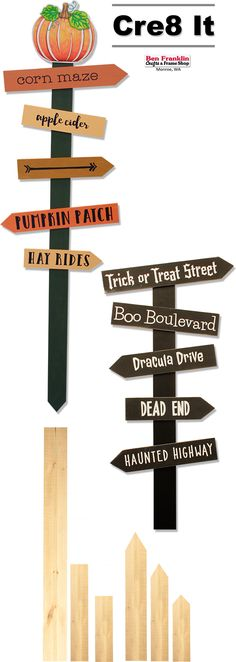 these fun Halloween Directional Signs in a few easy steps! Paint the wood boards. Let dry. Peel & stick the self-adhesive vinyl quotes to the boards. Diy Halloween Decorations, Halloween Diy, Frame Crafts, Fun Crafts, Wood Boards, Directional Signs, Corn Maze, Vinyl Quotes, Garden Markers