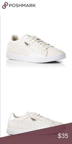 Puma Match Lo Sneakers White Leather, Classic Green Logo Puma Shoes Athletic Shoes