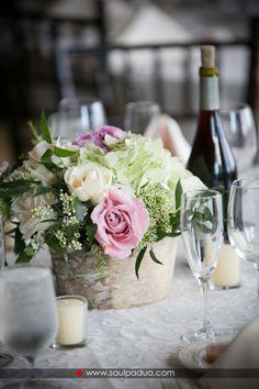 CD Florals Centerpiece: Birch Wood Vase, Antique Hydrangea, Vendela Roses, Garden Roses, Wax Flower and Peonies.