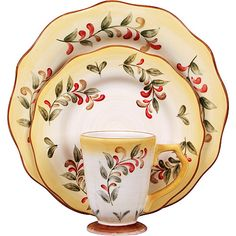"""My main dinnerware...Better Homes and Gardens Tuscan Retreat...I call these my """"Enchanted April"""" dishes (I love the movie of the same name- even though the dishes in the movie look nothing like these!)"""