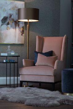 Living Room Sofa Design, Living Room Seating, Home Living Room, Living Room Designs, Living Room Decor, Chairs For Living Room, Living Room Lamp Shades, Blush Pink Living Room, Sofa And Chair Company