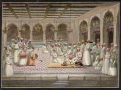 listening to male musicians and smoking hukka is Asif-ud-daulah. Murshidabad 1812