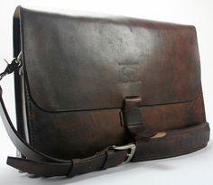 Rustic Distressed Leather Messenger Bag  by WhiteBuffaloRepublic
