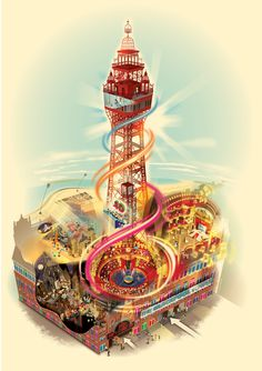 Blackpool Tower map by Visual Maps , via Behance Blackpool England, Visual Map, Ballrooms, Brewing Company, Centre Pieces, Red Roses, Seaside, Past, Places To Visit