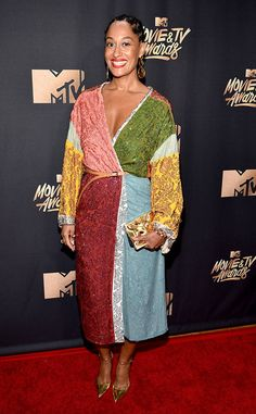 Tracee Ellis Ross from MTV Movie & TV Awards 2017: Red Carpet Arrivals  We saw every color of the rainbow thanks to theBlack-ish star's midi-dress.