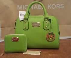 NWT  MICHAEL KORS SAFFIANO LEATHER SATCHEL PURSE BAG AND WALLET SET PEAR GREEN