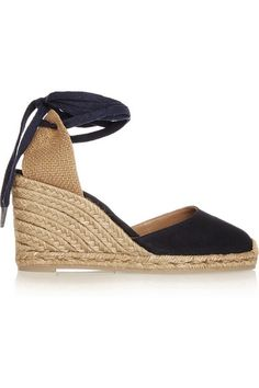 Wedge heel measures approximately 80mm/ 3 inches Midnight-blue and ecru canvas Ties at ankle Imported