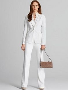 I love a good white suit Tahari by ASL Women's Pant Suit (Cloud ...