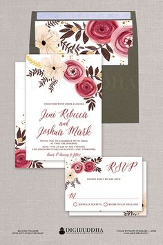 Painterly Wedding Invitation & RSVP 2 pc suite. Boho Chic watercolor floral invitations available at digibuddha.com