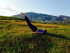 Yoga In Iceland Snæfellsjökull in the background.Glacier in the back ground