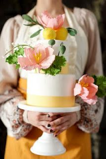 Cake with flowers made of sugar.