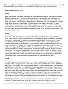 preschool report card comment examples