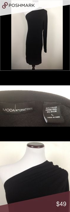 Victoria's Secret MODA Bodycon LBD black dress Great dress in perfect condition with no issues. It's a great length, made of a wool blend for warmth. It is like a sweater material. Shoulder area gathered for a classy look. Size large. Smoke free home! Moda International Dresses Midi