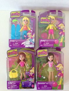Polly Pocket Collection 4 NIP (2) Polly, (1) Lila And (1) Kerstie W/ Display Box