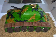 Army, cake, baking, food, tank, birthday