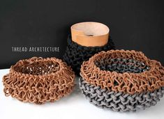 Thread Architecture studio work for this Friday's Deco post: rope experimenting with deco and design pieces, explore some more and enjoy! Crochet Slippers, Knit Crochet, Home Luxury, Extreme Knitting, Textiles, Everyday Objects, Knit Patterns, Knitting Projects, Diy And Crafts
