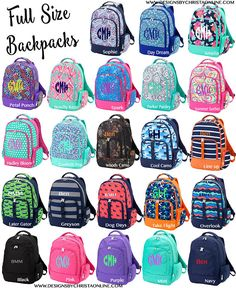 Backpack / Monogrammed Backpack / Personalized Backpack / Embroidered Backpack / Backpack with Initials / Full Size Back Pack