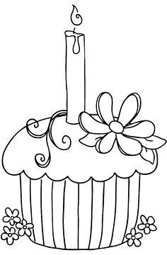 Cupcake Happy Birthday Coloring Pages