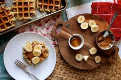 Buttermilk Chocolate Chip Waffles with Almond Butter, Banana and Honey