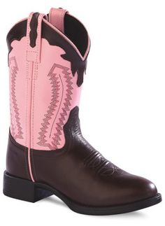 Old West Round Toe Boots: Brown Chestnut/Pink - SPECIAL ORDER - Small in the Saddle