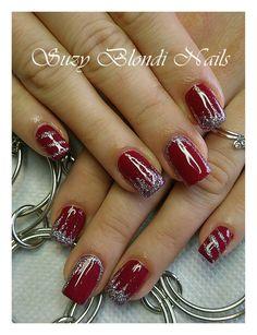 Red and Silver Nails Christmas Nails Xmas Nails, Holiday Nails, Red Nails, Christmas Nails, Nail Pink, Orange Nail, Yellow Nail, Classy Nails, Fancy Nails