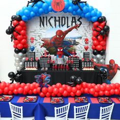 Birthday party decorations ideas for men spider man 68 Ideas for 2019 Spiderman Theme Party, Spiderman Birthday Cake, Superhero Birthday Party, Birthday Parties, Spider Man Birthday, Spider Man Party, 5th Birthday, Manly Party Decorations, Birthday Party Decorations