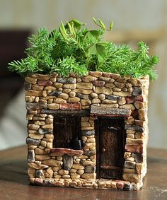Grow small ferns and other fairy favorites in this lovely flower pot.Note: To protect the beautiful paint work, spray fairy garden pieces with a colorless water sealer when leaving them outside. Remember to bring them inside during the winter months.