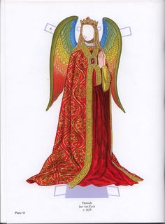 Free printable Angel Paper Dolls by Tom Tierney with glitter plate @11