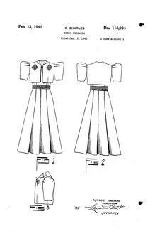 1940 DESIGN FOR A DRESS ENSEMBLE  Camilla Charles