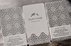 laura novak photography letterpressed business card