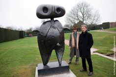Photo: Joan Miro's, grandsons, Emilio Fernandez Miro and Joan Punyet Miro pose beside Personnage (1970) in the Yorkshire Sculpture park on March 14, 2012 in Wakefield, England. Yorkshire Sculpture Park stages the first major UK survey of sculpture by Spanish artist Joan Miro. (Photo by Bethany Clarke/Getty Images)