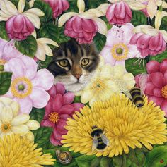 Art Licensing Painting - Hidden Away In The Flowers by Anne Mortimer