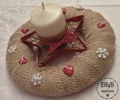 Centrotavola Natale, con nastro in juta e candela decorata con cartoncino e Big Shot - Home Decor