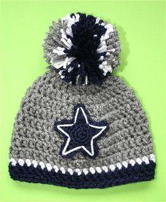 "Dallas Cowboys Crocheted Hat - Baby girl boy Cap Beanie Photo Prop 14"""